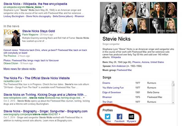 Google Displaying Celebrities Social Media Profiles in Search